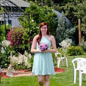 Bridesmaid formal dress mint green size 8